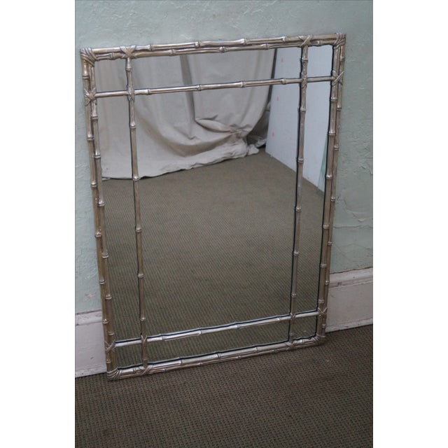 Silver Hollywood Regency Faux Bamboo Mirror For Sale - Image 8 of 10