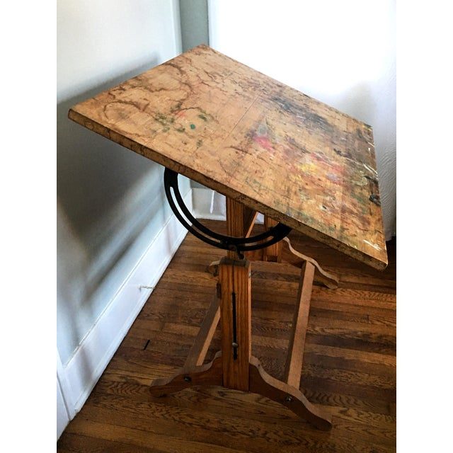 Cast Iron Antique American Adjustable Drafting Desk Table For Sale - Image 7 of 9