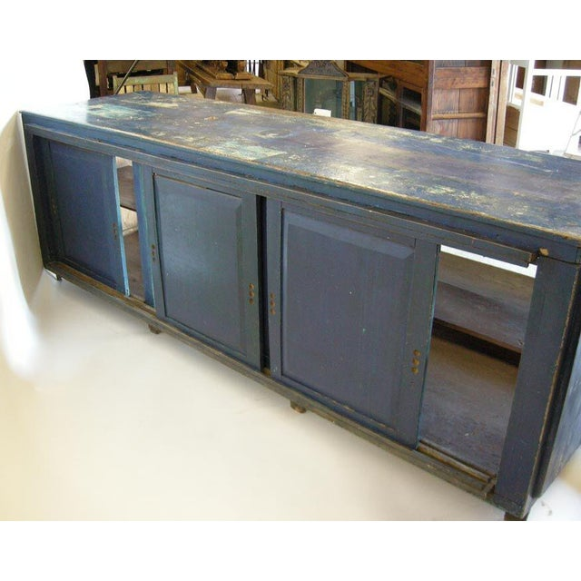 Early 20th Century Antique Painted Blue Shop Counter With Glass Front For Merchandise Display For Sale - Image 5 of 11