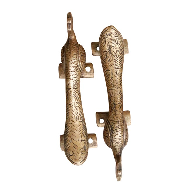 Hollywood Regency Brass Peacock Door Handles - a Pair For Sale - Image 3 of 7