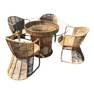 Mid Century Modern Raffia Dining Set - 5 Pieces