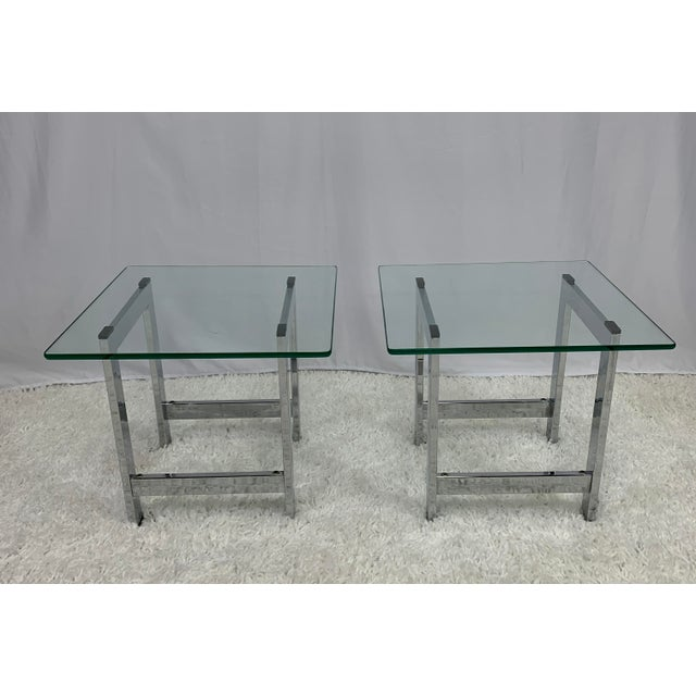 Milo Baughman Style Mid-Century Chrome and Glass Side End Tables -- a Pair For Sale In Charlotte - Image 6 of 9