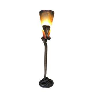 Art Deco Hand Casted Bronze Snake Floor Lamp For Sale