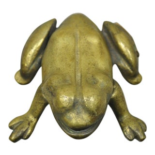 Mid 20th Century Brass Flip Top Frog Toad Trinket Dish For Sale