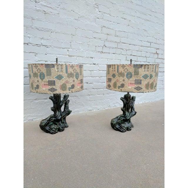 A Pair of Mid Century Modern Ceramic Stump Lamp With Printed Fiberglass Shade - Image 3 of 6