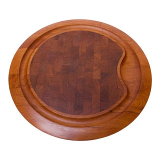 Large Staved Teak Cutting Board / Tray by Jens Quistgaard for Dansk For Sale