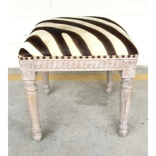 French Style Zebra Hair on Hide Wood Bench For Sale In Atlanta - Image 6 of 6