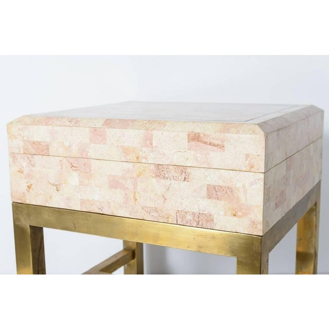 Maitland - Smith Maitland Smith Tessellated Marble and Brass Box on Stand For Sale - Image 4 of 11