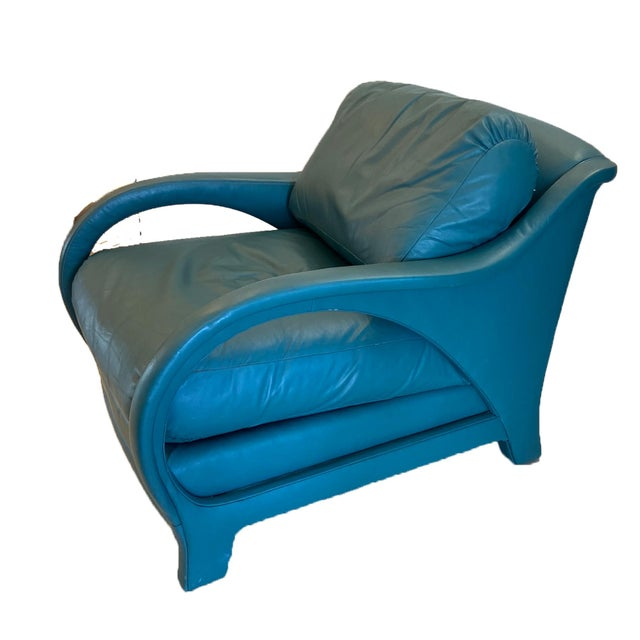 Jay Spectre Tycoon Leather Lounge Chairs- a Pair For Sale In West Palm - Image 6 of 8