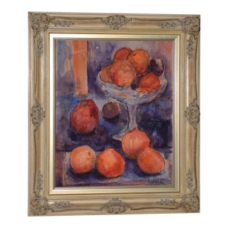 Clarence Keiser Hinkle (1880-1960) Still Life W/ Oranges Watercolor C.1930s For Sale