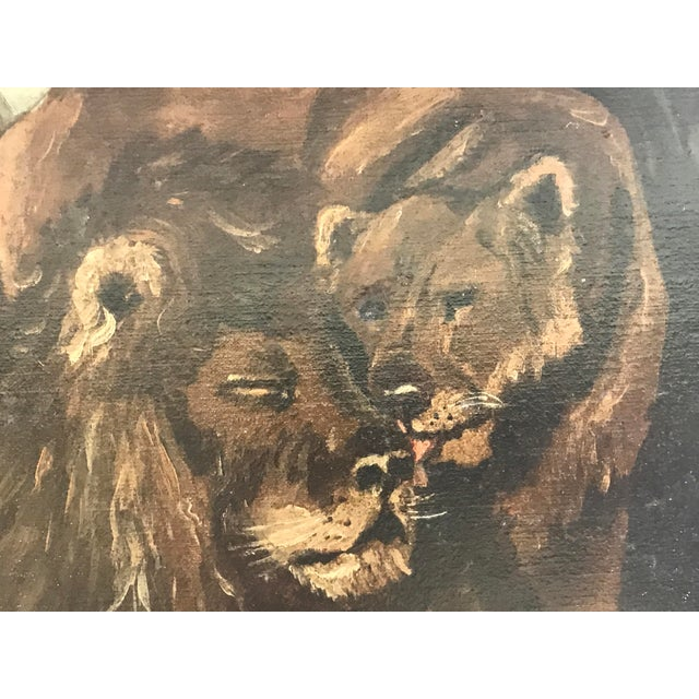 Antique British Colonial Lion Lioness Jungle African Oil Painting on Board For Sale - Image 9 of 11