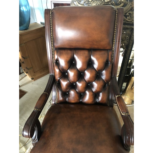 Hancock & Moore Tufted Swivel Leather and Wood Desk Chair For Sale - Image 4 of 12
