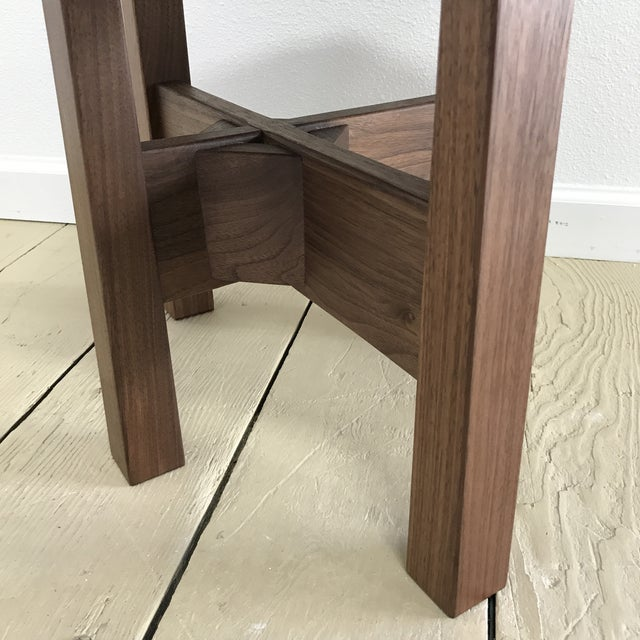 Wood Solid California Walnut Stool For Sale - Image 7 of 11