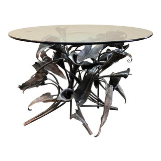 Eric Klausen Calla Lily Metal + Glass Table For Sale