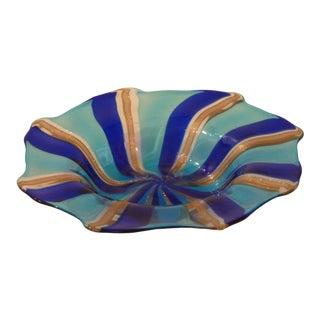 Murano Art Glass Swirl Bowl For Sale