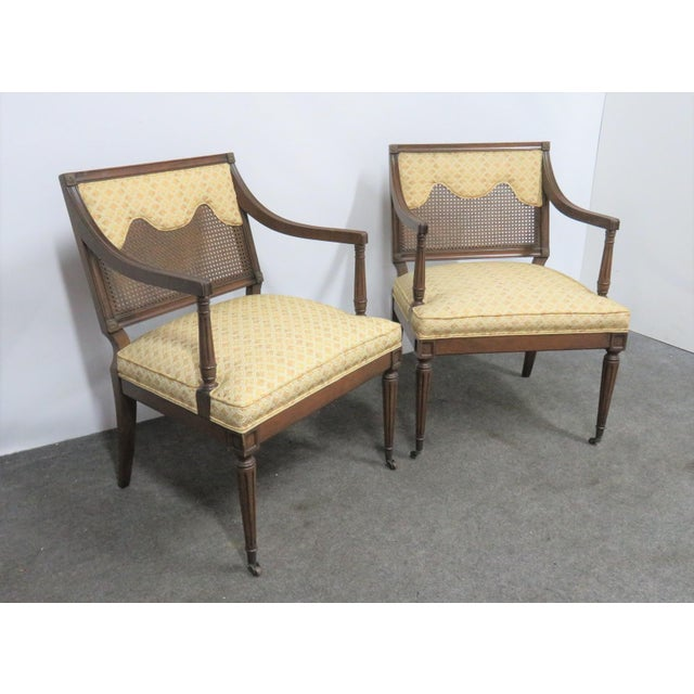 Mid 20th Century Louis XVI Style Caned Back Upholstered Armchairs - a Pair For Sale - Image 5 of 7