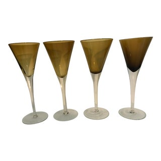 Mid 20th C. Amber Wine Glasses - Set of 4 For Sale