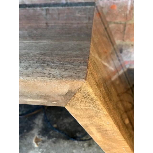 2010s Italian Minimalist Monolithic Oak Bench For Sale - Image 5 of 10