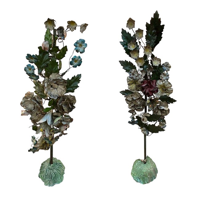19th Century French Tole Floral Topiaries - a Pair For Sale