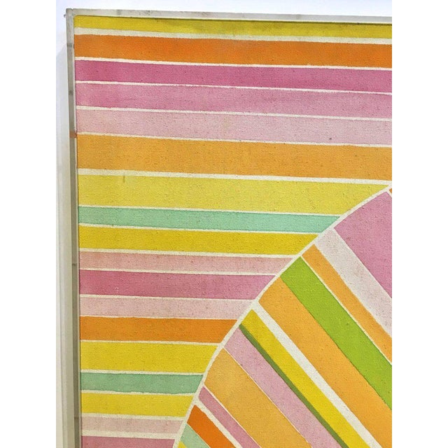 Acrylic Paint Mid-Century Modern Hard Edge Optical Art Painting, Signed, Circa 1960s For Sale - Image 7 of 13