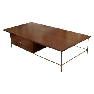 Mid-Century Modern Paul McCobb Irwin Calvin Mahogany Brass Coffee Table, 1950s For Sale