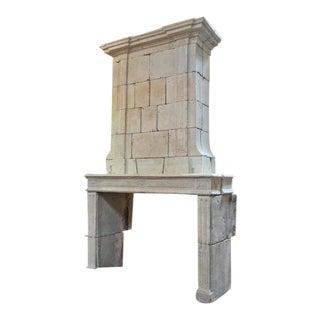 Louis XVI Antique Limestone Mantel