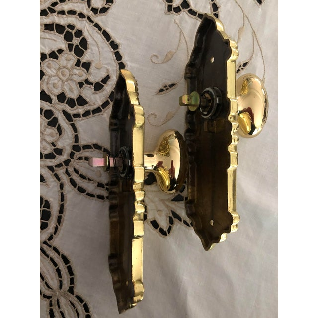 Brass Emtek Designer Side Plates Polished Brass Doorknob Set For Sale - Image 7 of 11