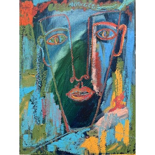 """""""Twilight"""" Contemporary Abstract Portrait Mixed-Media Painting by Monica Shulman For Sale"""