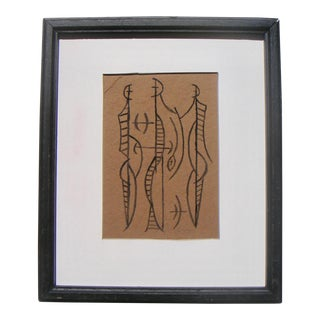 1960s Mid-Century Modern Drawing of Abstracted Figures by Robert George Gilberg