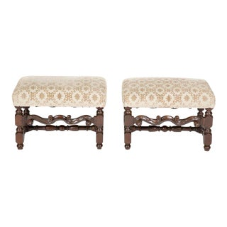 Fine Pair of Italian Baroque Walnut Benches For Sale