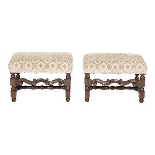 Fine Pair of Italian Baroque Walnut Benches