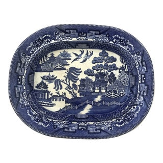 Antique Wedgwood Blue Willow Platter For Sale