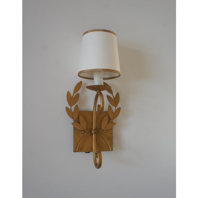 Julie Neill Gilt Metal Wreath Sconce For Sale - Image 4 of 11
