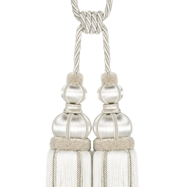 """Textile Ivory Double Tassel Tieback With Cut Ruche - Tassel Height 17"""" For Sale - Image 7 of 8"""
