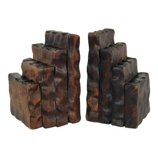 Rustic Style Wood Bookends, Pair For Sale