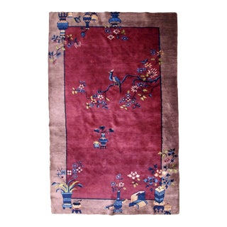 1920s, Handmade Antique Art Deco Chinese Rug 4' X 6.5' For Sale