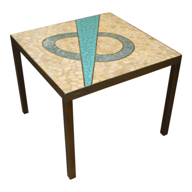 Tile Top Table With a Bronze Patinated Frame For Sale