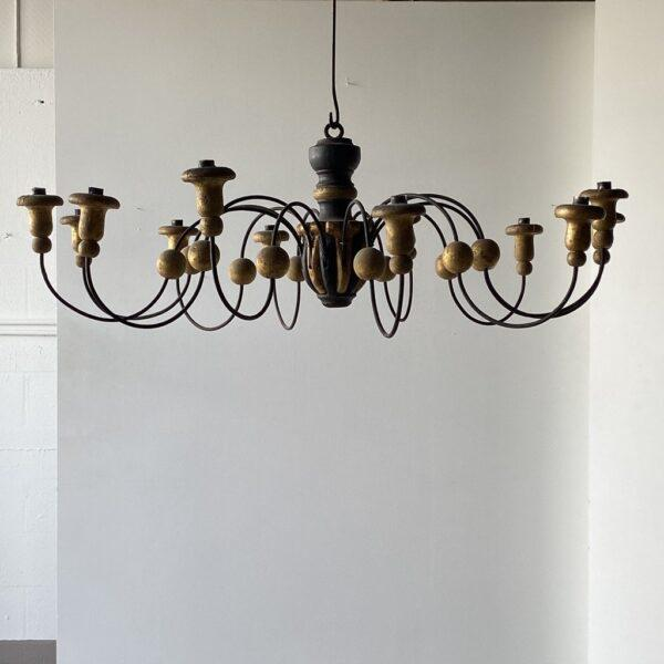 Mid-19th Century Parcel-Gilt Wood and Metal Chandeliers - A Pair For Sale In West Palm - Image 6 of 9