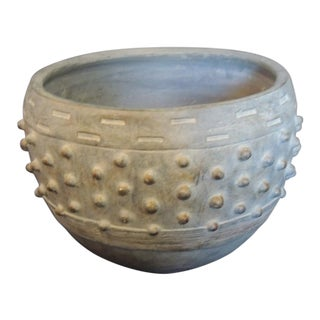 Modern Round Clay and Cement Dust Planter For Sale