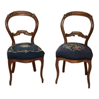 1900s Vintage Carved Mahogany Balloon Back Chairs- A Pair For Sale