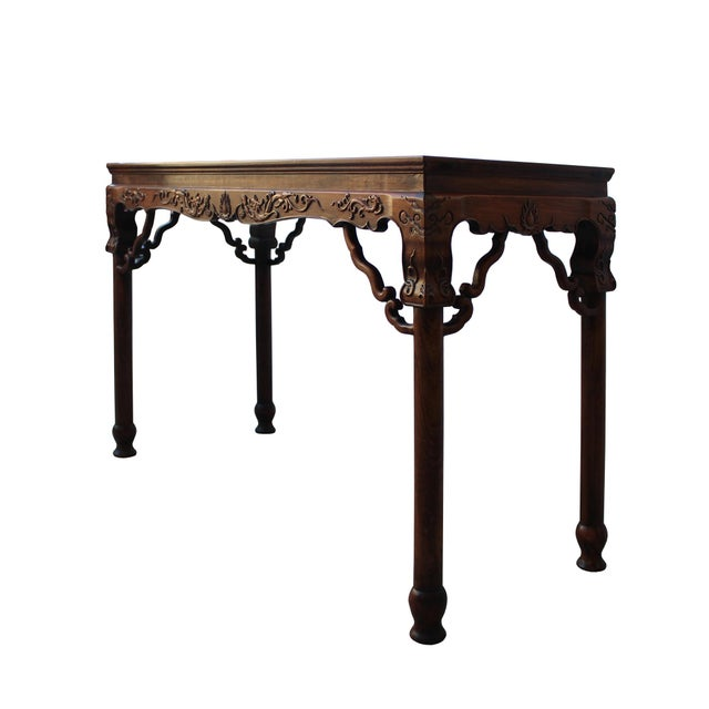 2000 - 2009 Chinese Brown Huali Rosewood Dragon Motif Round Apron Altar Table For Sale - Image 5 of 8