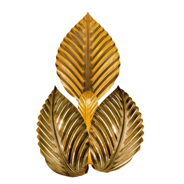 Art Deco Palm Leaves Gold Leaf Wall Light For Sale - Image 3 of 3