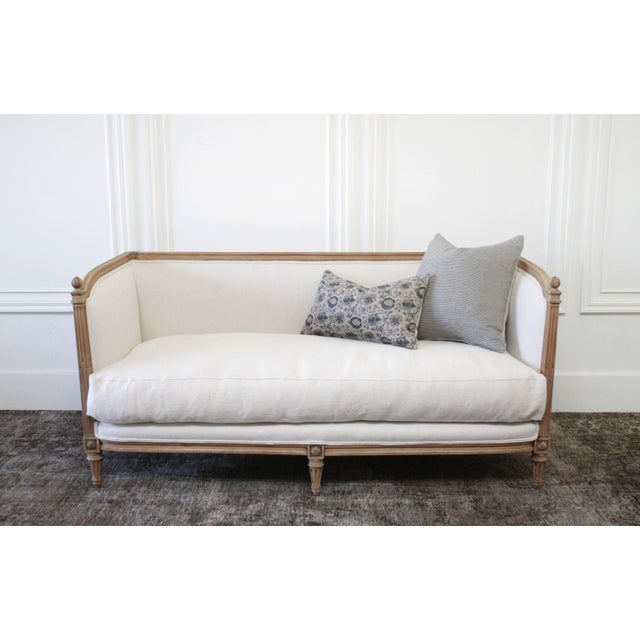 Wood Antique Louis XVI Sofa Bleached Oak and Natural Linen For Sale - Image 7 of 12