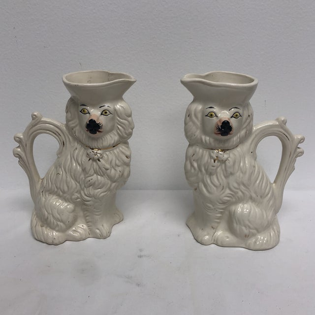 Antique English Staffordshire Spaniel Pitchers - a Pair For Sale - Image 9 of 9