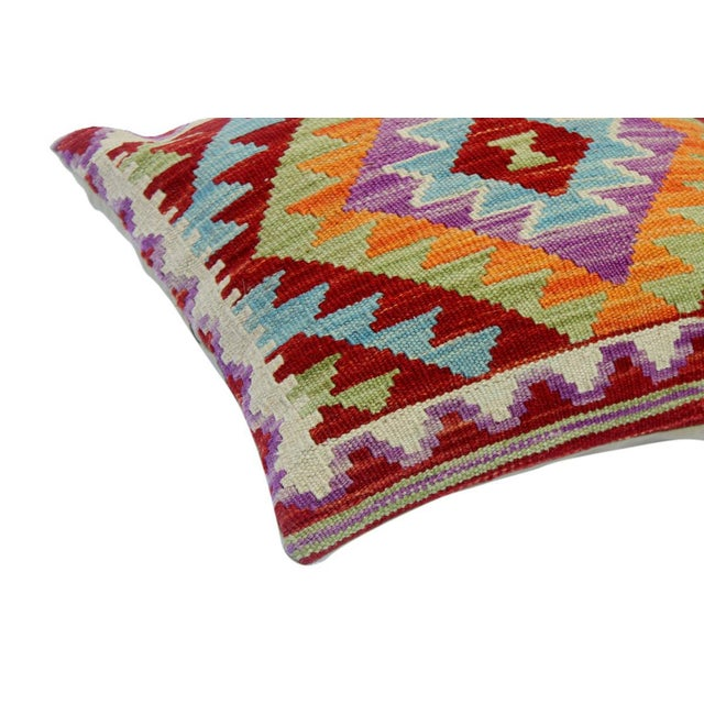 "Asian Chelsey Red/Purple Hand-Woven Kilim Throw Pillow(18""x18"") For Sale - Image 3 of 6"