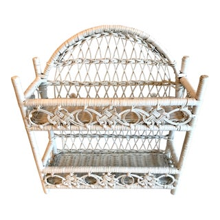 20th Century Cottage White Wicker Wall Shelf For Sale