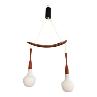 Rispal Mid-Century Modern Wood and Glass Chandelier For Sale