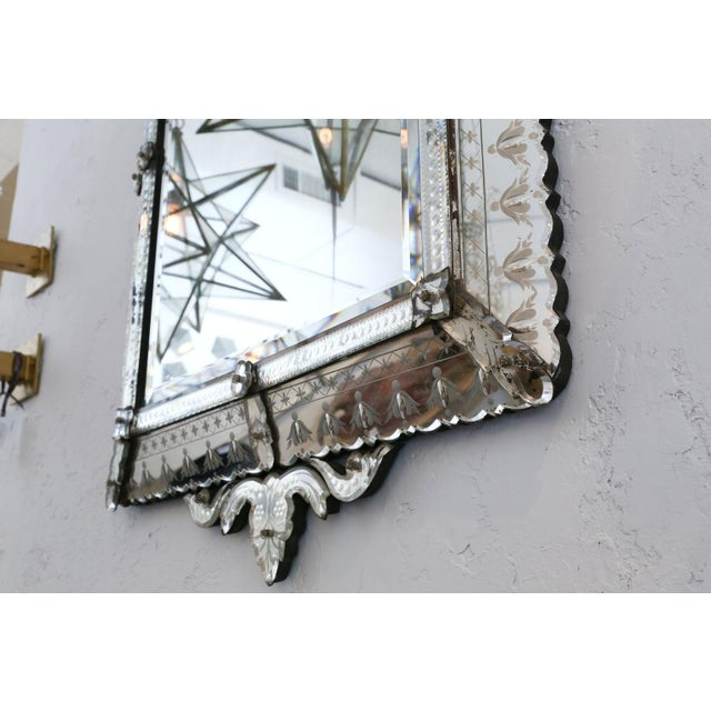 Silver Large Rectangular Venetian Mirror For Sale - Image 8 of 12