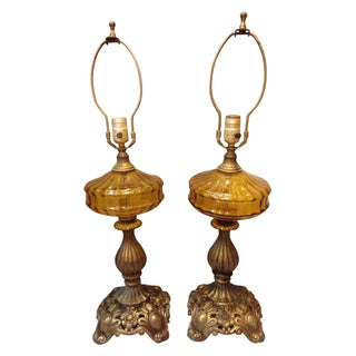 Mid-Century Bronze and Amber Table Lamps - A Pair For Sale