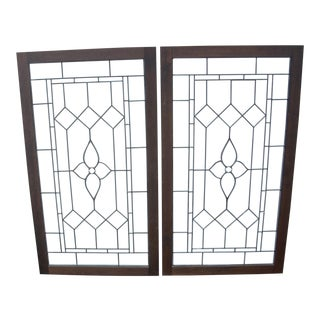 1870s English Leaded Glass Windows- a Pair For Sale